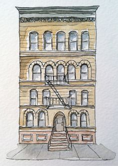 Architectural Drawing Ideas Brooklyn Historic Brownstone Pen and Ink Drawing-Watercolor Painting Print- architectural artwork - Ink Pen Drawings, Love Drawings, Drawing Sketches, Drawing Ideas, Drawing Tips, Simple Drawings, Drawing Designs, Learn Drawing, Building Illustration
