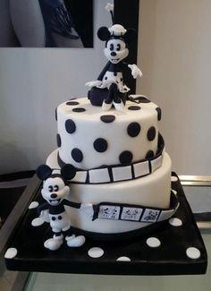 black and white mickey cake