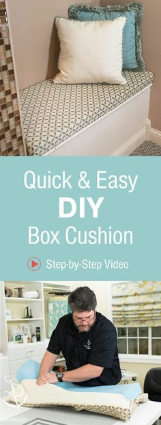 how to sew up a quick and easy box cushion in just 7 steps! Perfect for bench seating, window seats and more!Learn how to sew up a quick and easy box cushion in just 7 steps! Perfect for bench seating, window seats and more! Window Seat Cushions, Bench Cushions, Window Seats, Outdoor Cushions, Cushion For Bench Seat, Sewing Hacks, Sewing Tutorials, Sewing Tips, Sewing Ideas