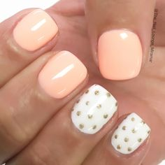Simple gold dots nail art design