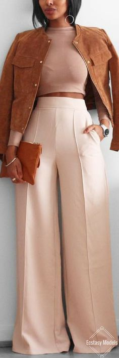 Shades of Beige and Tan. Pants from @kynacollection // Fashion Look by @femmeblk