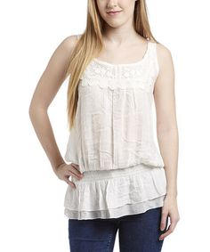 This Ivory Crochet Blouson Tank by Simply Irresistible is perfect! #zulilyfinds
