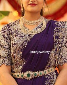 Half Saree Designs, Bridal Blouse Designs, Diamond Necklaces, Diamond Bangle, Diamond Jewellery, Gold Jewelry, Indian Reception Outfit, Vaddanam Designs, Indian Bridesmaids