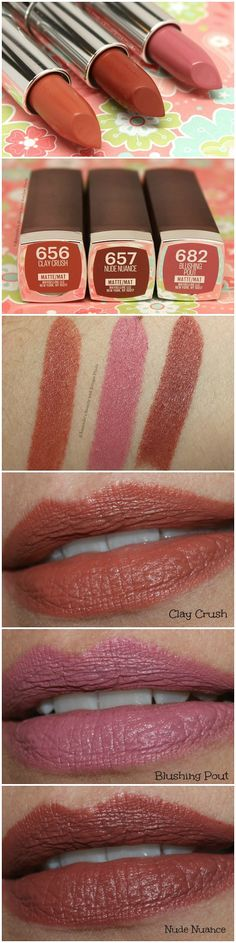 New 2015 Maybelline ColorSensational Creamy Matte Lipsticks: Clay Crush, Blushing Pout and Nude Nuance