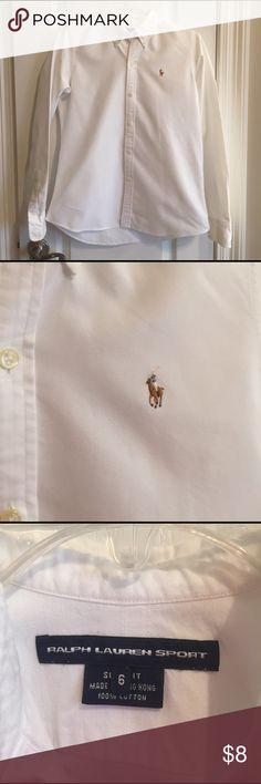 Ralph Lauren Polo Shirt Size 6 White, EUC from a non-smoking home ralph lauren sport Tops Button Down Shirts