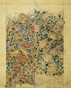 Rose' textile design by William Morris, produced by Morris & Co in 1883.