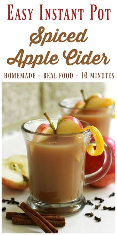 Instant Pot Spiced Apple Cider is so easy to make from scratch! It's delicio… Instant Pot Spiced Apple Cider is so easy to make from scratch! It's delicious, perfectly spiced, maple sweetened and only takes 10 minutes cook time! Homemade Apple Cider, Spiced Apple Cider, Spiced Apples, Crockpot Apple Cider, Apple Recipes, Fall Recipes, Holiday Recipes, Whole Food Recipes, Cheap Recipes