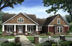 Bungalow Style House Plans - 2400 Square Foot Home , 1 Story, 4 Bedroom and 2 Bath, 2 Garage Stalls by Monster House Plans - Plan seriously close to perfect. Bungalow Style House, Craftsman Style House Plans, Cottage House Plans, Country House Plans, Cottage Homes, House Floor Plans, Cottage Style, Craftsman Cottage, Craftsman Homes