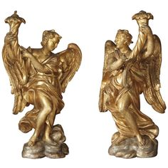 17th Century Italian Carved Pair of Angels (Genoa) | From a unique collection of antique and modern sculptures and carvings at http://www.1stdibs.com/furniture/asian-art-furniture/sculptures-carvings/