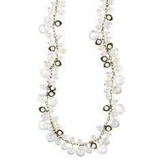 Pearl + Crystal Drops Long Necklace from Chloe + Isabel So pretty even for wedding reception https://www.chloeandisabel.com/boutique/amyriye#31415