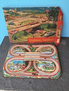 Vintage Technofix Highway Viaduct Tin and original box lid