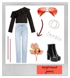 """""""Borrowed from the Boys: Boyfriend Jeans."""" by nabiladea on Polyvore featuring Polaroid, MSGM, Yves Saint Laurent, Alexander Wang, ZeroUV and H&M"""