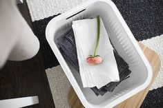 White SmartStore Basket with bamboo lid