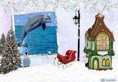 Fotomontaggio dimontaggio-navideno-slitta-penguin-for-your-foto 4538