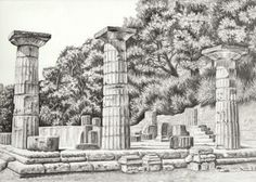 The temple of Hera drawing - now available in my Etsy shop.