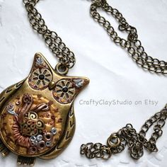 Polymer Clay Steampunk, Polymer Clay Jewelry, Clay Owl, Owl Jewelry, Pendant Necklace, Google Search, Tutorials, Tips, Inspiration