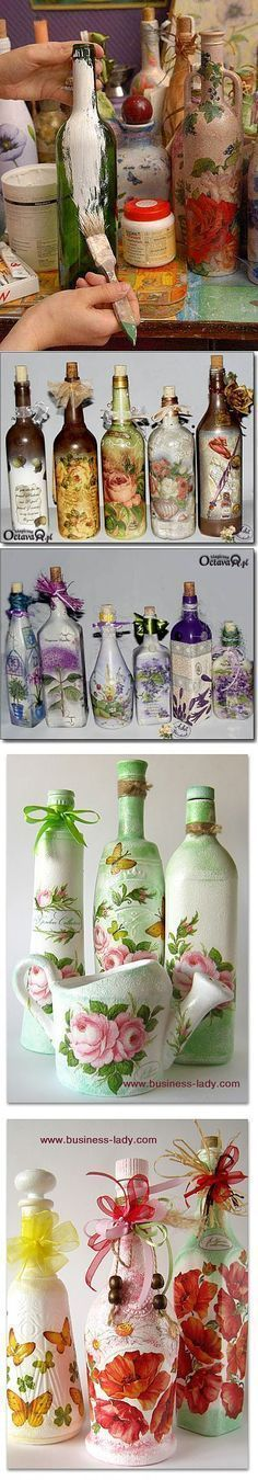 Decoupage Victorian image onto bottle, then decoupage cloth or paper lace around it as a frame. Recycled Wine Bottles, Wine Bottle Art, Painted Wine Bottles, Diy Bottle, Wine Bottle Crafts, Bottles And Jars, Jar Crafts, Diy And Crafts, Decorated Bottles