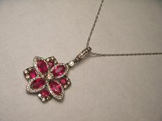 Gorgeous Antique 18K White Gold Ruby Rubies by ggemsonline on Etsy