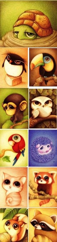 Animals with large eyes. love animals with large eyes: милые рисунки, рисун Cute Animal Drawings, Cute Drawings, Awesome Drawings, Illustrator, Drawn Art, Love Art, Painting & Drawing, Amazing Art, Illustration Art