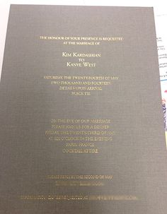 Exclusive! Kim Kardashian and Kanye West's wedding invitation!