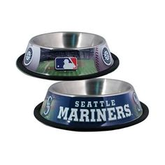 Hunter Mfg Seattle Mariners Stainless non-skid rubber base Dog Bowl