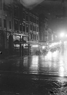 Wet night on Hunter St,Sydney in January Time In Sydney, Rainy Days, Historical Photos, Old Photos, Over The Years, New York Skyline, Australia, Memories, Darkness