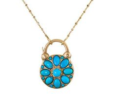 Arik Kastan - Stained Glass Turquoise and Gold Padlock Pendant Necklace in Designers Arik Kastan Necklaces at TWISTonline