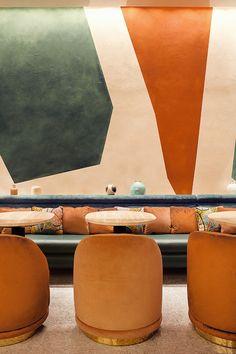 Dessert customer with Pierre Hermé - Esszimmer - Restaurant Restaurant Design, Restaurant Bar, Industrial Restaurant, Restaurant Seating, Vintage Restaurant, Orange Restaurant, Luxury Restaurant, Modern Restaurant, Design Hotel