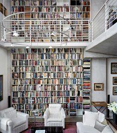 Modern Loft interior design in contemporary ideas Studio House, Library Bookshelves, Bookcases, Loft Interior Design, Loft Design, Interior Decorating, Dream Library, Future Library, Library Wall