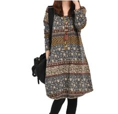 Loose Fitting Cotton Dress Long Sleeved Blouse for Women on Etsy, $66.00