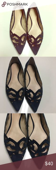 Zara Pointy Shoes Navy blue Zara flat pointy shoes, with beautiful cut out cut outs shapes, good condition, size states 39- so gave me size 9 on posh, but please verify Zara 39 size would fit, before purchasing 🤗 Zara Shoes