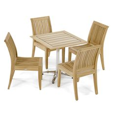 High End Teak & Stainless Steel Vogue Side Set complete with 4 Laguna Teak Side chairs. Quality Rated Best Overall by Wall Street Journal. Brown Furniture, Teak Furniture, Furniture Deals, Patio Furniture Sets, Recycled Furniture, Quality Furniture, Cool Furniture, Outdoor Furniture, Garden Furniture