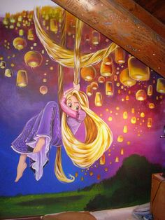 to ] Great to own a Ray-Ban sunglasses as summer gift.Tangled bedroom mural - Rapunzel and the lanterns - not the most neutral look for a kids room Mural Da Disney, Disney Wall Murals, Disney Art, Disney Rapunzel, Rapunzel Room, Bedroom Murals, Kids Bedroom, Bedroom Ideas, Bedroom Wallpaper