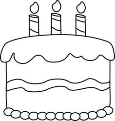 Small Black And White Birthday Cake Clip Art Image