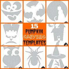 15 Pumpkin Carving Templates ~ with young kids in mind via Nest of Posies #Halloween #kids #pumpkins