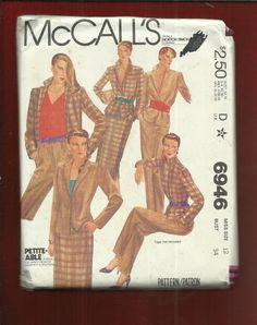 Vintage 1980 McCalls 6946 Princess Seam Notched Collar Jacket Slim Skirt & Pants Size 12 UNCUT