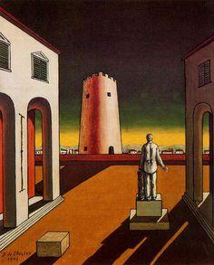 Giorgio de Chirico, Plaza de Italia con una torre roja, 1943. Carmen Pinedo Herrero: La alegría habita las ciudades extrañas: Giorgio de Chirico