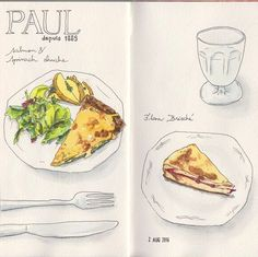Early dinner #sketchbook #sketching #drawing #watercolour #watercolor #水彩 #トラベラーズノート #イラストレーション #イラスト #スケッチ #travelersnotebook #illustration #food #foodillustration #painting #journaling #midoritravelersnotebook #travelersnote #sweets #スイーツ #quiche...