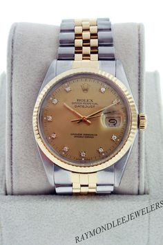 Pre-Owned Rolex Datejust 16013 Two Tone Watch with Champagne Diamond Dial $4495