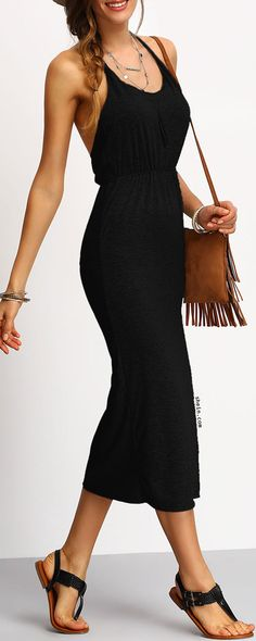 Black Slim Racerback Slit Dress
