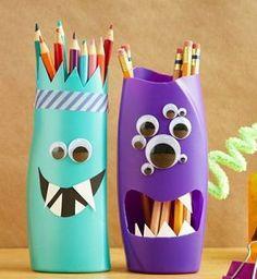 Monster-Stifthalter aus leeren Plastikflaschen basteln