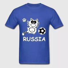 Russia Soccer Shirt Putin Cup Vodka Cat Cute - Men's T-Shirt