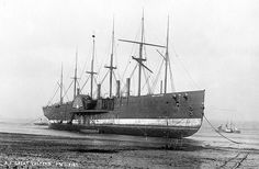 """SS Great Eastern, apparently beached to be broken up at Rock Ferry, 1889 [[MORE]] """" SS Great Eastern was an iron sailing steam ship designed by Isambard Kingdom Brunel, and built by J. Scott Russell & Co. at Millwall on the River Thames, London. Merchant Navy, Merchant Marine, Liverpool Docks, Liverpool Town, Liverpool History, Isambard Kingdom Brunel, Abandoned Ships, Shipwreck, Tall Ships"""