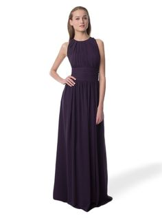 This long chiffon bridesmaid dresses has a stunning and modest high neckline.
