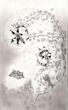 """""""#Skull """", 29x18cm, #Tusche und #Silber, 2014 #sacredgeometry #pentagram #floweroflife #art #goldenmean  http://istvanseidel.de/z"""