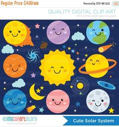 Clipart Solar System / Galaxy / Outer Space / by MyClipArtStore Vector Clipart, Space Classroom, Star System, Cute Doodles, Space Theme, Scrapbook Supplies, Outer Space, Aliens, Early Education