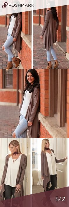 💎Fall Breeze Waterfall Cardigan In Dark Taupe💎 Boutique | Taupe ...
