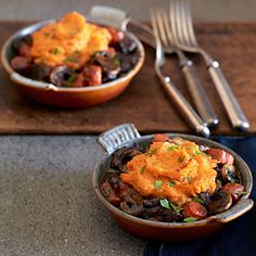 Pumpkin Shepherd's Pie | MyRecipes.com  -I used 2 sweet potatos instead of pumpkin (with the cream and added some brown sugar for sweetness) and also substituted red wine vinegar instead of straight red wine. And steak stew meat instead of lamb. Turned out delicious!!