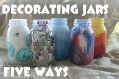 Mason Jar Crafts using paint and Tissue paper