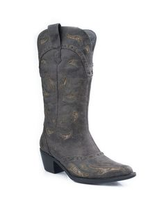 "Women's 12"" Fashion With Underlay and Interlace Design Boot - Brown"